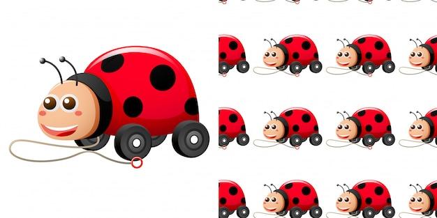 Naadloze patroon met lieveheersbeestje speelgoedauto