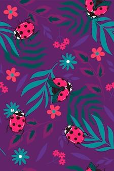 Naadloze patroon met lieveheersbeestjes en bladeren. vectorafbeeldingen.