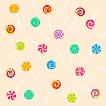 Naadloze patroon met lolly zoete snoepjes. vectorillustratie op roze achtergrond