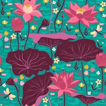Naadloze patroon met lotussen en waterplanten. vectorafbeeldingen.