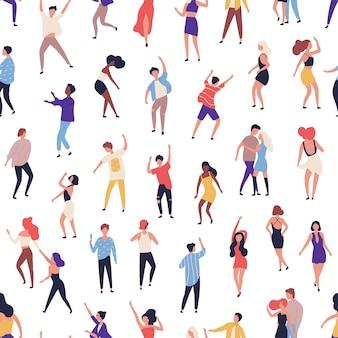 Naadloze patroon met mensen dansen op de dansvloer in de nachtclub