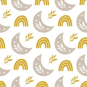 Naadloze patroon met moderne regenboog, bloemenmaan, stars.boho-illustratie.