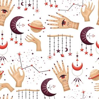 Naadloze patroon met mystieke astrologische elementen