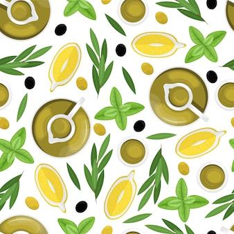 Naadloze patroon met olijfolie in een karaf, plakjes citroen, olijven, olijftak. plat liggen.