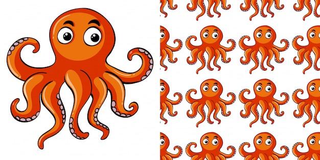Naadloze patroon met oranje octopus