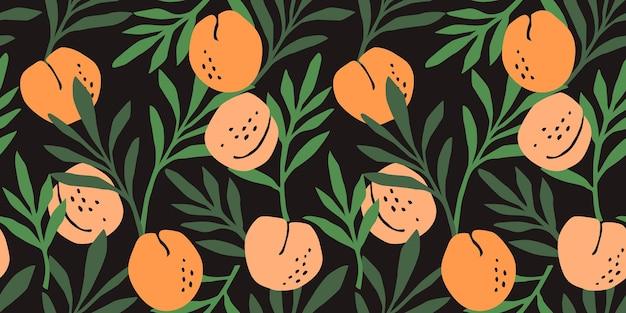 Naadloze patroon met perziken en groene bladeren