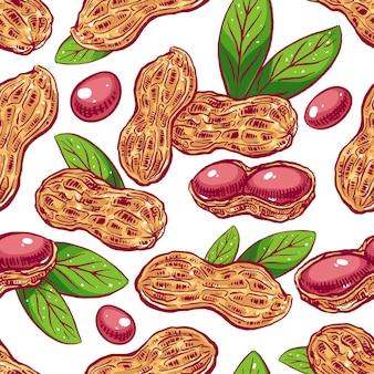 Naadloze patroon met pindakaas en bladeren