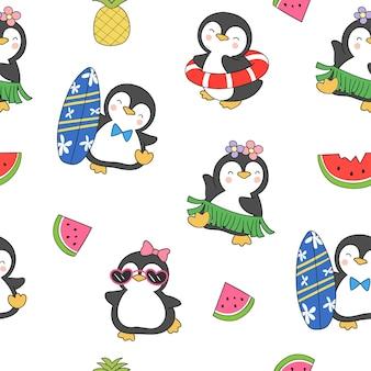 Naadloze patroon met pinguïns voor de zomer