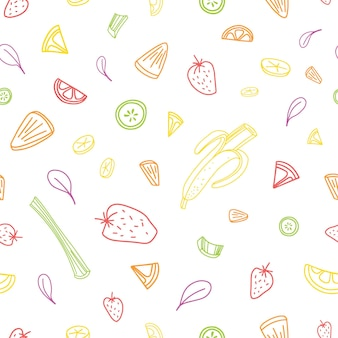 Naadloze patroon met plakjes of stukjes smakelijke groenten, vers tropisch fruit en bessen getekend met kleurrijke contouren op witte achtergrond. vectorillustratie voor achtergrond, stof print.