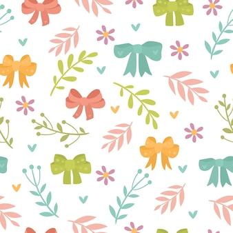 Naadloze patroon met planten en strikken