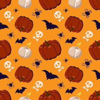 Naadloze patroon met pompoenen, kaarsen, spinnen, vleermuizen en schedels. halloween feestelijke herfstdecoratie. oktober vakantie achtergrond
