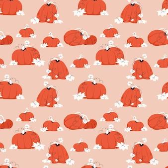 Naadloze patroon met pompoenen