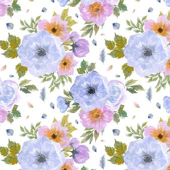 Naadloze patroon met prachtige blauwe en paarse bloemen
