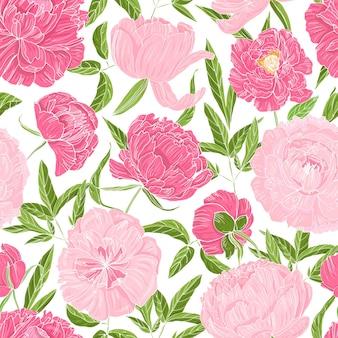 Naadloze patroon met prachtige bloeiende pioenrozen op wit
