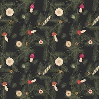 Naadloze patroon met realistische kerstboomtakken en decoraties