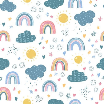 Naadloze patroon met regenbogen en wolken