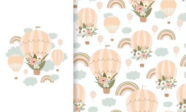 Naadloze patroon met regenboog en luchtballon