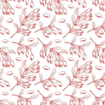 Naadloze patroon met rijpe goji-bessen en bladeren