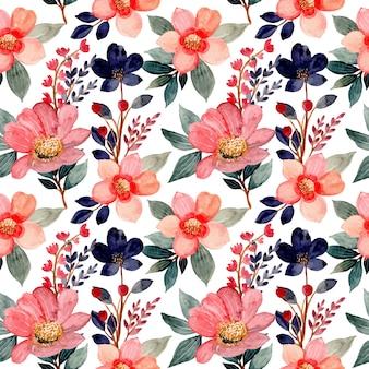 Naadloze patroon met rode aquarel bloem