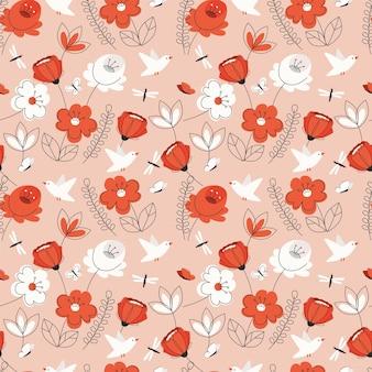 Naadloze patroon met rode bloemen en bladeren