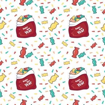 Naadloze patroon met rode dozen met geschenken en de inscriptie happy new year, santa tassen met snoep. vakantiedruk voor kerst- en wintervakanties, textiel, inpakpapier en decoraties.