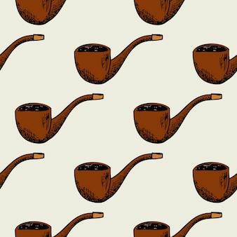 Naadloze patroon met rookpijp. vintage achtergrond retro, rook ontwerp,