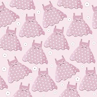 Naadloze patroon met roze baby meisje jurken
