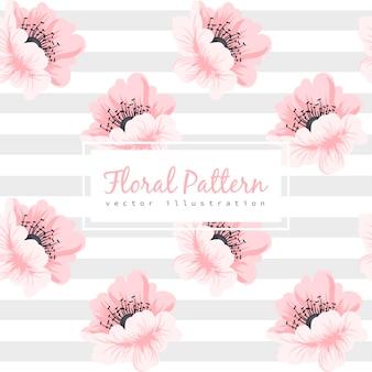 Naadloze patroon met roze bloem