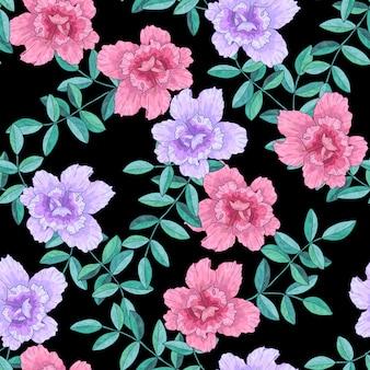 Naadloze patroon met roze paarse bloemen en takken met groene bladeren. textuur voor print, stof, textiel, behang. hand getekend vectorillustratie. op zwarte achtergrond.