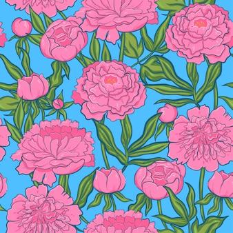 Naadloze patroon met roze pioenrozen.