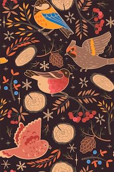Naadloze patroon met russische vogels van de winter.