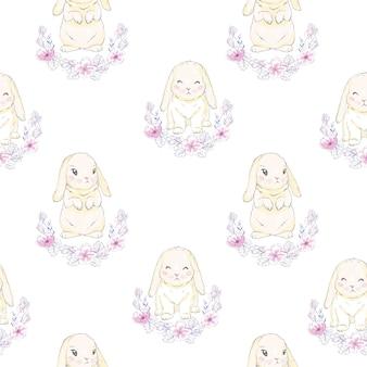 Naadloze patroon met schattige cartoon konijntje,