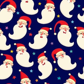 Naadloze patroon met schattige cartoon santa