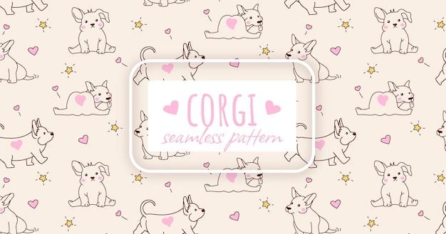 Naadloze patroon met schattige corgi puppy. leuk ontwerp om af te drukken. vector