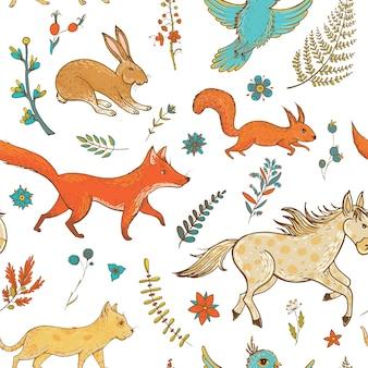 Naadloze patroon met schattige dieren