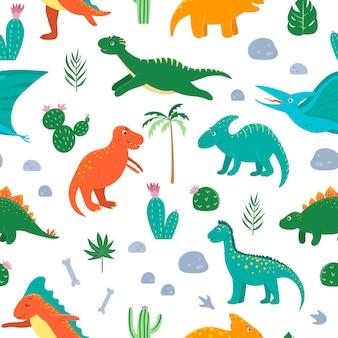 Naadloze patroon met schattige dinosaurussen met palmbomen, cactus, stenen, voetafdrukken, botten voor kinderen. dino platte stripfiguren achtergrond. leuke prehistorische reptielenillustratie.