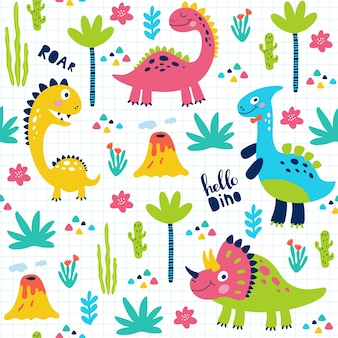 Naadloze patroon met schattige dinosaurussen voor kinderen afdrukken. Premium Vector