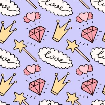Naadloze patroon met schattige doodle geïsoleerde illustraties.
