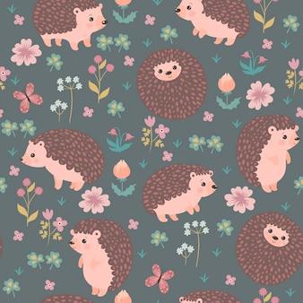 Naadloze patroon met schattige egels en bloemen. vectorafbeeldingen.