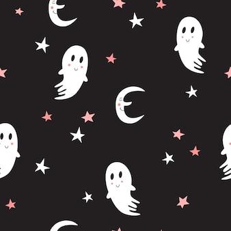 Naadloze patroon met schattige geesten. halloween-ontwerp voor stof en papier, oppervlaktestructuren.