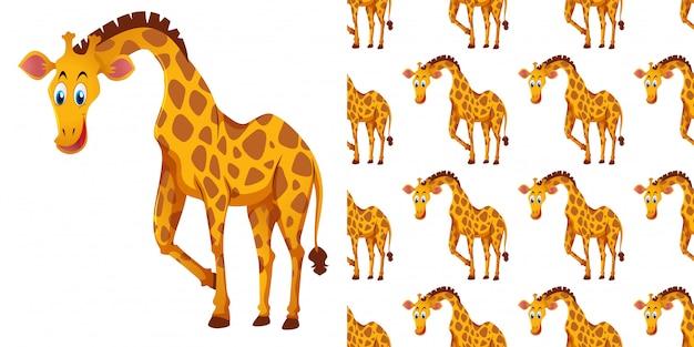 Naadloze patroon met schattige giraf