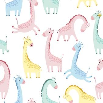Naadloze patroon met schattige giraffen. hand getekend kinderachtig cartoon afbeelding