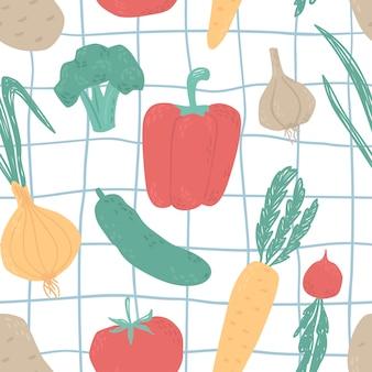 Naadloze patroon met schattige groenten. broccoli, knoflook, uien, courgette, tomaat, komkommer, aardappelen, rapen, wortels, paprika's, radijsvoedsel.
