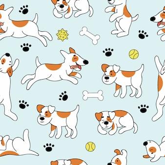 Naadloze patroon met schattige honden in verschillende poses