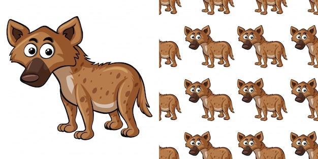 Naadloze patroon met schattige hyena