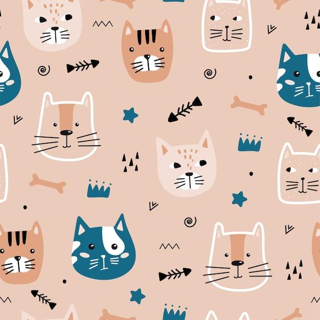 Naadloze patroon met schattige kat.