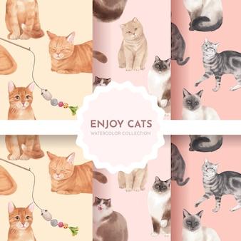 Naadloze patroon met schattige kat