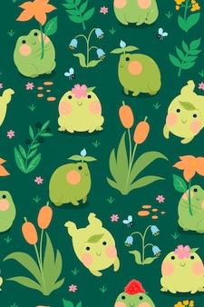 Naadloze patroon met schattige kikkers