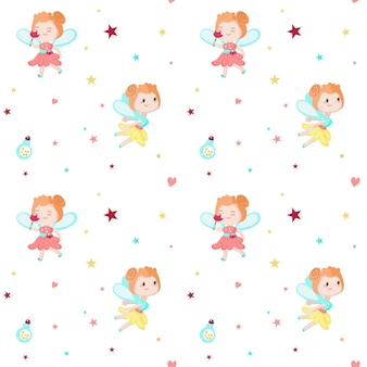 Naadloze patroon met schattige kleine feeën