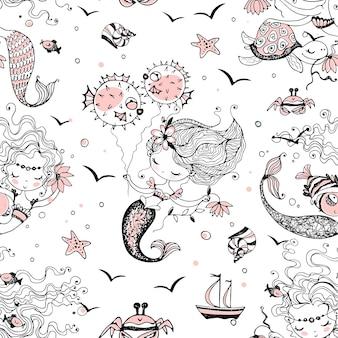 Naadloze patroon met schattige kleine zeemeerminnen. vector